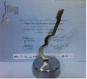 Certificado + Troféu - Premio Rozini 2013 - 17-06-2013