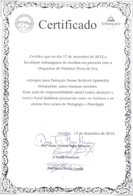 certificado entrega de presentes